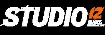 Grand logo blanc de Studio12 à Toulouse